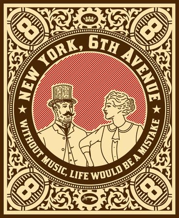 Vintage label with lady and getleman elements Illustration