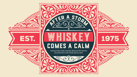 Whiskey label with old frames. Vector layered Çizim