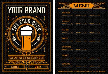 Beer menu. Vintage style