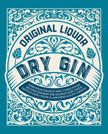 Vintage Gin label. Vector layered Illustration
