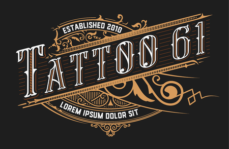 Tattoo logo template. Old lettering on dark background with floral ornaments.Vector layered