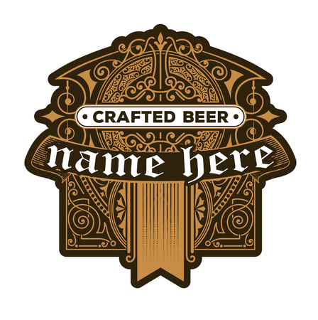 Craft beer vintage label Иллюстрация