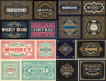 Pack of 16 vintage labels. Векторная Иллюстрация