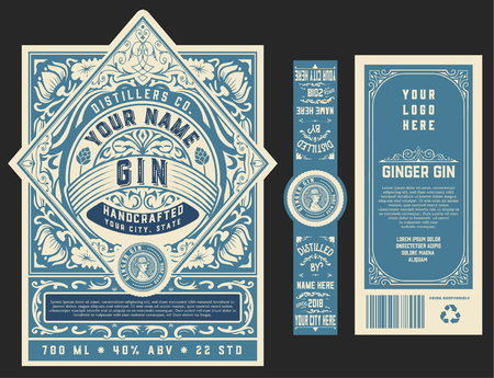 Modèle d'étiquette de gin vintage