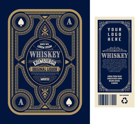 Vintage liquor labels, front and back side. Western style Illustration