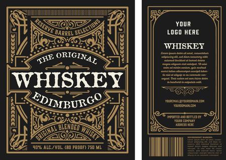 Etichette vintage per liquori, fronte e retro. Vettore a strati