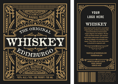 Vintage liquor labels, front and back side. Vector layered