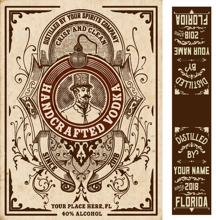 Vintage liquor labels. Vector layered