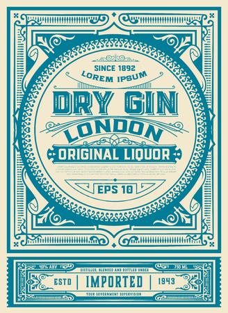 Plantilla de etiqueta Vintage Gin. vector en capas Ilustración de vector