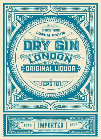 Vintage Gin label template. vector layered Vector Illustration