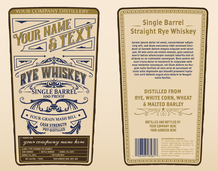 Whiskey label for packing. Vector layered
