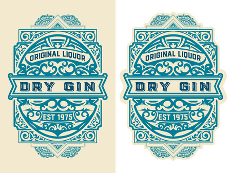 Vintage label with floral elements