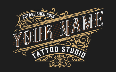Tattoo logo template with vintage ornaments. Layered