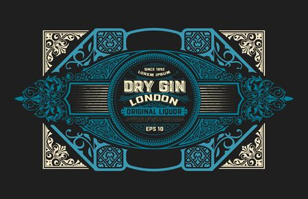 Gin label with floral ornaments Vector Illustration