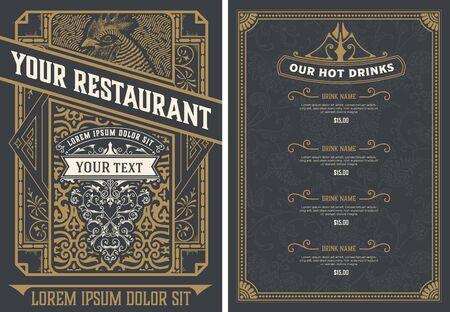 Szablon projektu menu starodawny restauracji. Warstwy wektorowe.