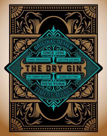 Modèle d'étiquette de gin vintage. Vecteur en couches