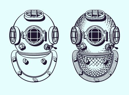Old style diver helmets with and without engraving style Vector Illustratie