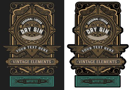 Old label design for liquor. Vector illustration