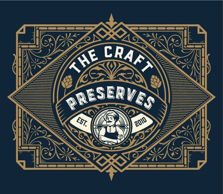 Vintage Preserves label with Chef illustration