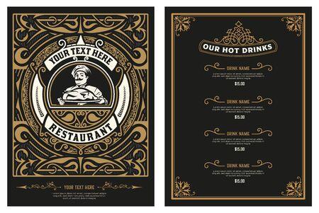 Modèle antique pour la conception de menus de restaurant avec illustration du chef. Vecteur en couches.