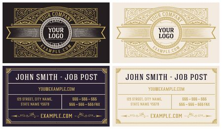 Vintage business card with floral ornaments