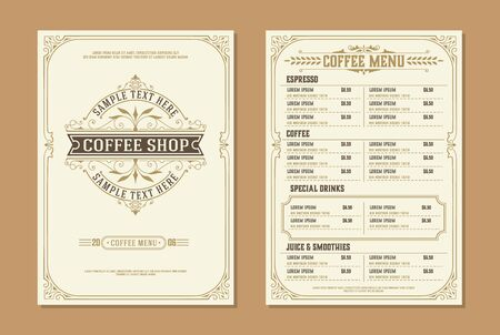 Logo kawiarni z szablonem broszury projektu menu kawy. zabytkowe elementy dekoracji typograficznej. Warstwy wektorowe