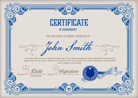 Zertifikat der Leistung Vintage-Rahmen.