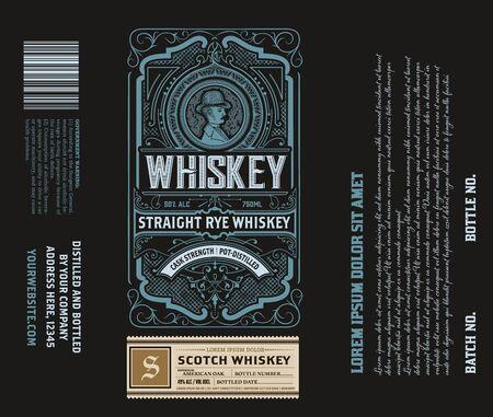 Étiquette d'alcool illustration vectorielle rétro design vintage