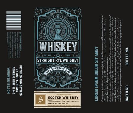 Liquor Label vintage design retro vector illustration