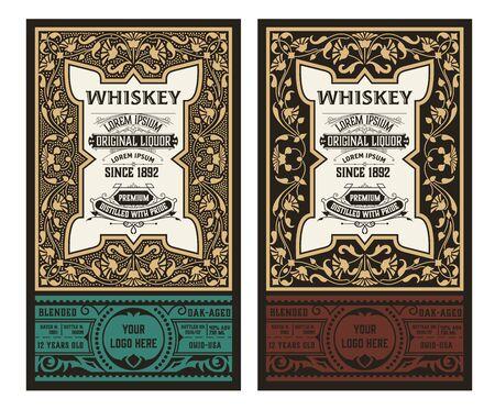 Vintage bottle label design with floral elements. Alcohol industry emblem, distilling business.