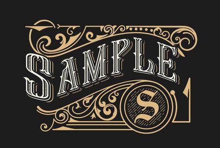 Design del modello di logo di lusso vintage per etichette, cornici, etichette dei prodotti. Disegno dell'emblema retrò. Illustrazione vettoriale Logo