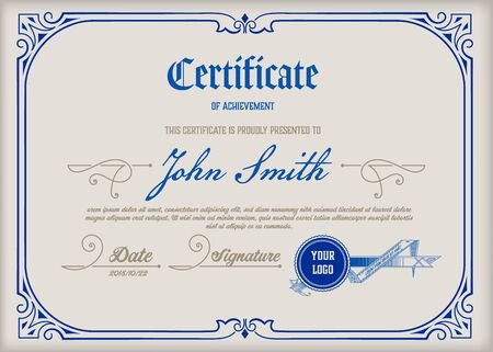 Certificate of Achievement Vintage Frame. Vector layered