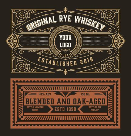 Whiskey Label with floral details