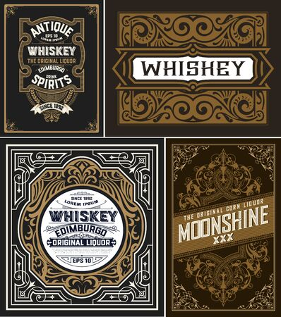 Set of 4 vintage cards. Vector layered Vettoriali