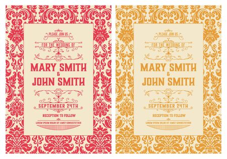 Vintage wedding invitation. Save the date. Vector illustration