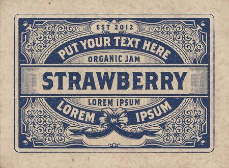 Vintage Organic Jam Label with Floral Elements