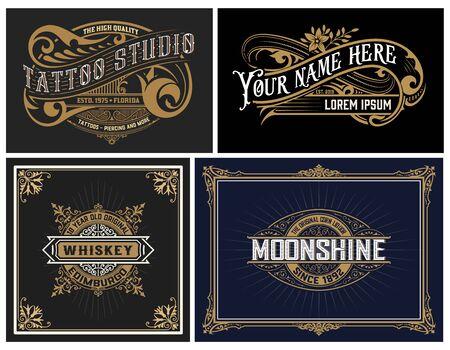 Set of 4 vintage Logos. Vector layered Logo