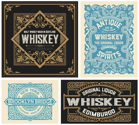 Set of 4 vintage liquor labels. Vector layered