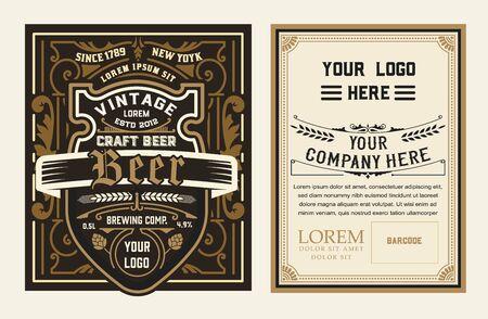 Vintage beer label for packing Vetores