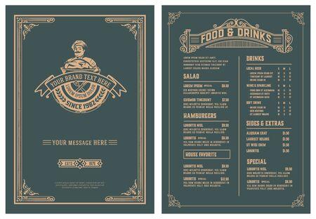 Modèle vintage pour la conception de menus de restaurant. Vecteur en couches.