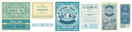 Set of 3 vintage labels with back side. Vector layered