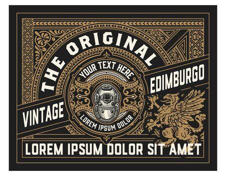 Old label design for Whiskey and Wine label, Restaurant banner, Beer label. Vector illustration
