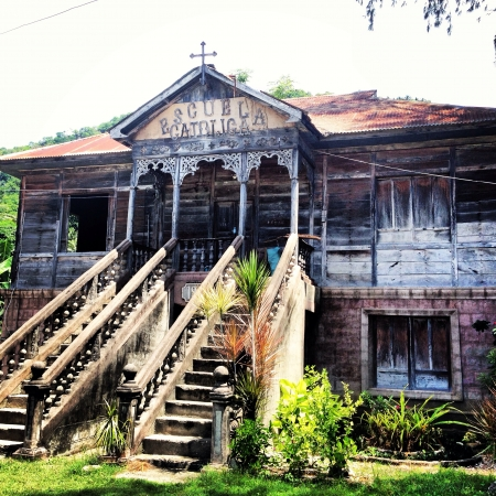 catholicism: An Old architecture of a catholic school in Cebu Philippines. This is where Catholicism was introduced in the Philippines Stock Photo