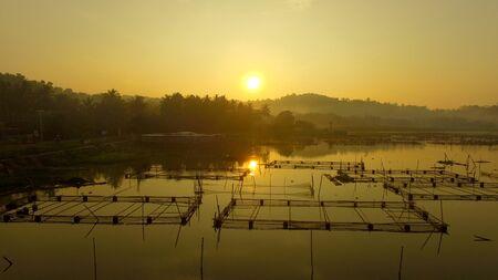 sunrise around the reservoir lake Banco de Imagens