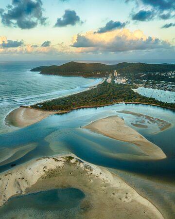 Aerial photo of sunset over Noosa Spit, Noosa Heads, Sunshine Coast, Queensland, Australia