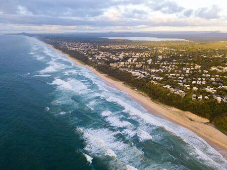 Aerial photo of Sunshine Beach, Noosa National Park, Noosa Heads, Sunshine Coast, Queensland, Australia