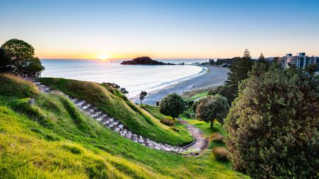 Sunrise at summit track on Mount Maunganui, New Zealand