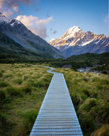 A boardwalk on the Hooker Valley Trail, Aoraki/Mt Cook National Park, Canterbury, South Island, New Zealand
