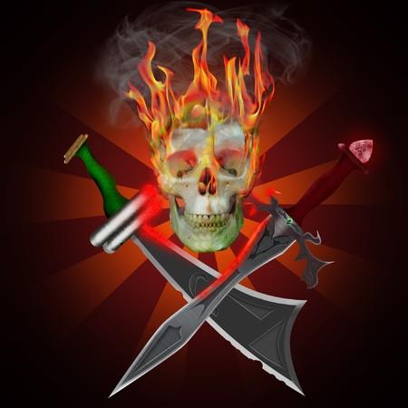 drapeau pirate: Crâne de pirates sur le feu avec des épées