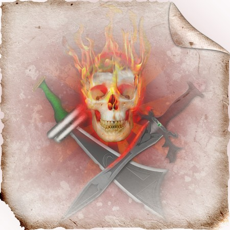 Pirate Skull on the fire with swords photo
